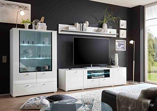 Wohnwand, Anbauwand, Schrankwand, Regalwand, Wohnzimmerschrankwand, Fernsehwand, Wohnschrank, Hochglanz, weiß, Grauglas