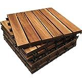 72 tasselli in legno massiccio di acacia a incastro, piastrelle per terrazzo, giardino, balcone, vasca, pannello quadrato, 30 cm