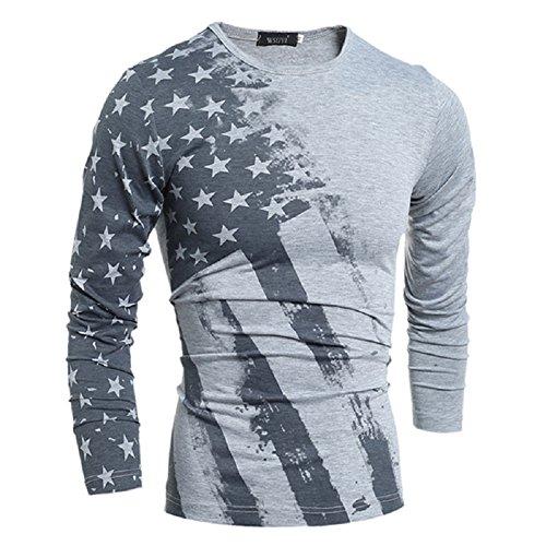 BOMOVO Herren Rundhals -T-Shirt Langarm Shirt Grau