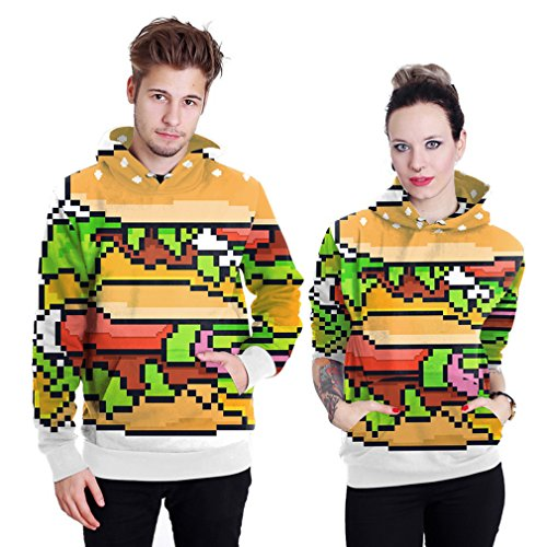 Belsen Damen Kapuzenpullover mehrfarbig Cat Knight L Digital hamburger