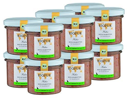 BIOPUR Bio Huhn, Reis & Karotten für Hunde-Senioren 12x100g -