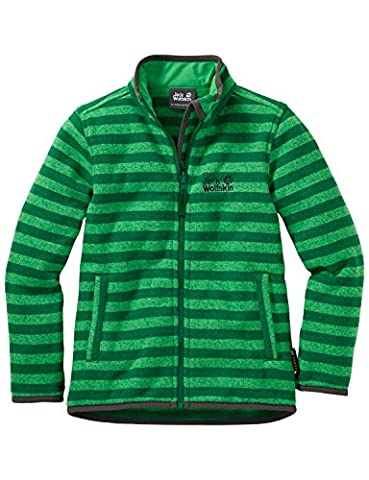 Jack Wolfskin Kinder Fleecjacke Kids Caribou Stripe Jacket, Cucumber Green Stripes, 140,