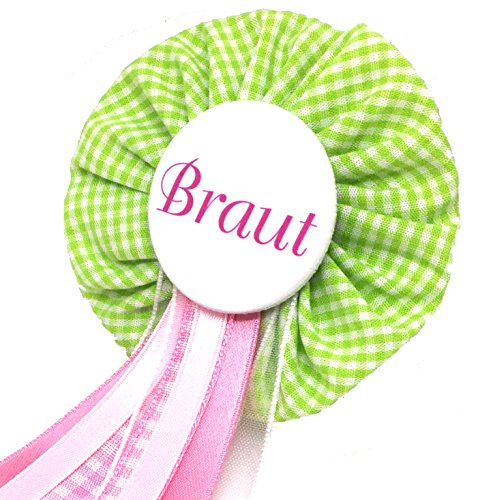 AnneSvea Orden Braut grün vichy Anstecker Button rosa Hochzeit Wedding Dekoration Bridalshower Hen Party JGA Junggesellinnenabschied