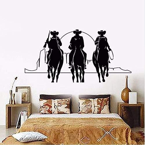 (Mhdxmp Wohnkultur Vinyl Wandtattoo Western Cowboys Wandaufkleber Abnehmbare Pferde Sonnenuntergang Film Kino AufkleberWohnkulturwandbild57 * 28 Cm)