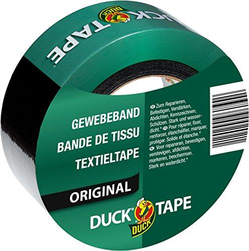 Duck Original Gewebeband Schwarz 50mmx50m zum Reparieren, Bündeln und Befestigen