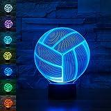 Pallavolo 3D lampada illusione ottica, luce notturna Rquite 7cambia colore touch lampade da tavolo con base in ABS e acrilico piatto e cavo USB per Awesome Gift