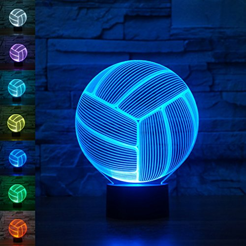 Voleibol 3d Illusion óptico lámpara luz nocturna, rquite 7cambia de color Touch...