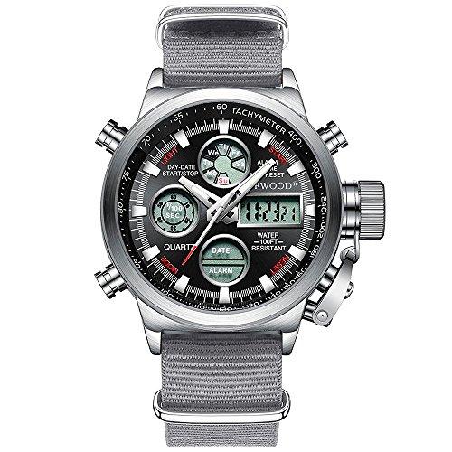 Unisex navy watch uomini sport orologi militari di grandi dimensioni dual analogico digitale quarzo giapponese movimento army calendar orologio da polso (cinturino in nylon grigio)