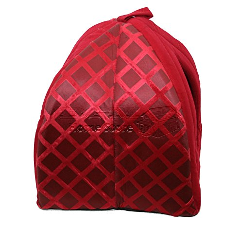 NIGHTS LARGE FLODING LUXURY PET HOUSE BED CAT DOG KITTEN WARM FLEECE IGLOO SOFT CAVE RED ND 3