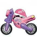 Unbekannt Rutschermotorrad und Helm für Kinder ab 18 Monaten, breite Reifen, für Innen und Außen, 70 cm, rosa - Laufrad Mädchen Motorrad Roller Lernlaufrad Kinderbike Lauflernrad Gleichgewicht