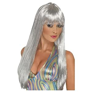 Long silver wig for women