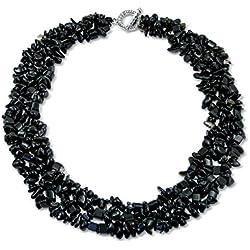 Bling Jewelry Onyx CHIPS simulado Babero Negro chapado en plata y piedras preciosas