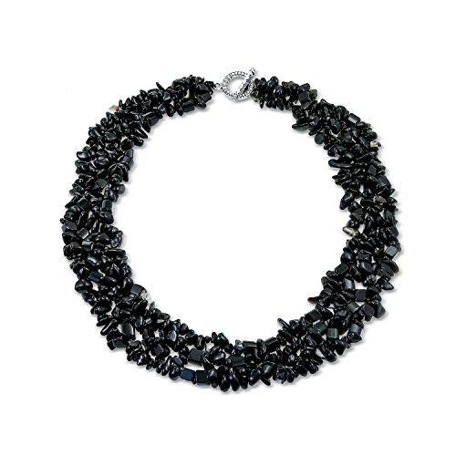 Bling Jewelry Black Onyx Stone Chip Amplia Chunky Cluster Multi Strand Collar Babero Collar de instrucción para Las Mujeres