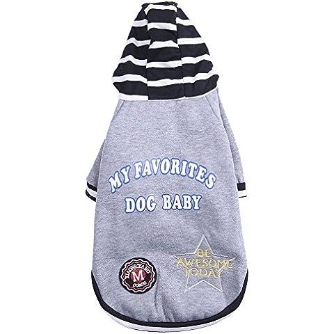 Puente de la capa del animal doméstico de la chaqueta con capucha para mascotas ropa de franela mono chaquetas para grandes gato del perro de perrito del animal doméstico Gris S / M / L / XL /