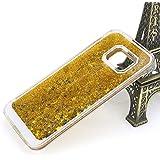 Coque Samsung Galaxy S7 Edge G9350 Liquide Sables Mouvants - Yihya Bling Glitter Étoile Paillettes Étui de Protection Plastique Rigide Transparent Sparkle Quicksands Case Cover - Or