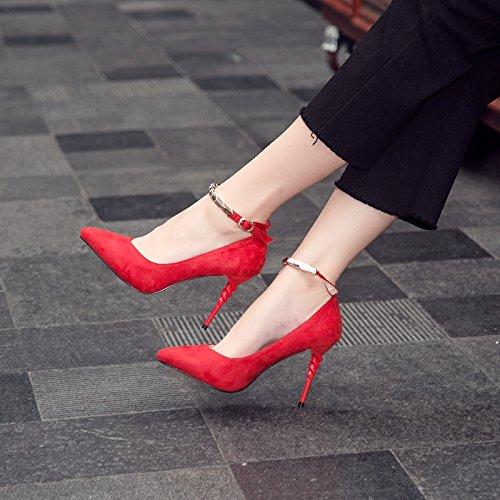 FLYRCX Morbide e confortevoli sono bocca poco profonda sottolineato scarpe con i tacchi alti e camoscio bendaggio signore sexy party individuale scarpe B