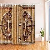 GoHEBE industriel Décor Vintage Porte en bois Rideau de douche 180,3x 180,3cm...