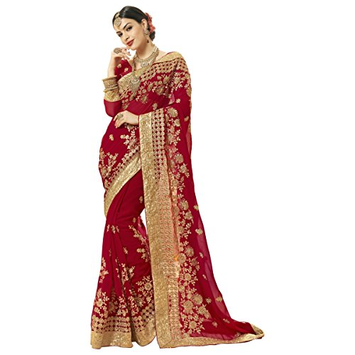 Aagaman Fashions Superb Red Farbige Bestickte Hochzeit Saree (Bluse Lace Georgette)
