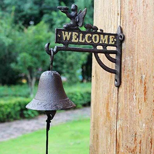 FLYSXP Schmiedeeisen Blume Fee Türklingel Europäische Vintage Gusseisen Willkommen Türklingel Cafe Bar Dekoration 22,5x11,4x22 cm Vintage Türklingel