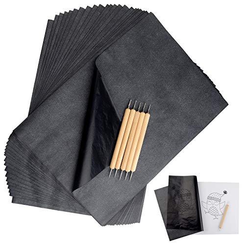TUPARKA 120 Blatt Carbon Copy Paper mit 5 PCS Embossing Stylus, Schwarzem Transferpapier Pauspapier für das Aufspüren von Holz, Stoff Tattoo Stencil Copy Accessory