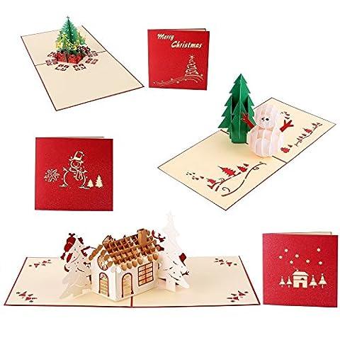 Carte de vœux de Noël 3d–Joseche 3d pop-up Laser–Vacances Cartes de vœux de Noël pour jour de Noël Nouvel An carte de voeux–Bonhomme de neige, arbre de Noël, Noël, traîneau 3D Card [3 PCS]