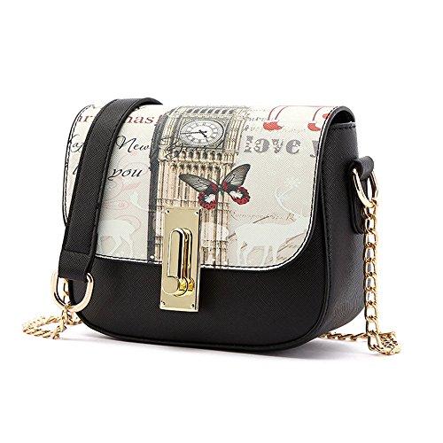 Sacchetto di estate coreano, zaino obliquo della spalla delle signore, mini borse di modo selvaggio, pacchetto della catena ( Colore : Nero ) Nero