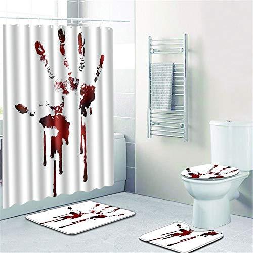 CHAOSE 4-teilige Badematten-Set Blut-Horror Stück Badvorhang-Set Badematte + Teppichboden WC-Sitzbezug + Duschvorhang + 12 Haken