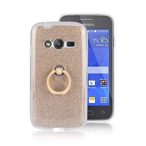 Sangrl Custodia per Samsung Galaxy Ace 4 / G313 / V, Slim Anti Scivolo Morbido TPU Cover 360 Gradi Rotazione Ring Armor Bumper TPU Scintillante Case Gold
