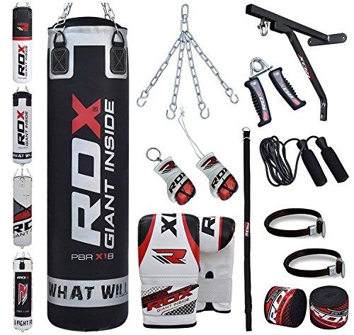RDX 17PC Boxen MMA Sack 4FT 5FT Boxsack Boxsack Wandhalterung Set Kickboxen Sandsack Training Gefüllt Gewicht, Schwarz, 5 ft