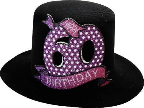 Geburtstag Hut mit Clip 60 Party Deko Spaß Hutzylinder in schwarz Happy 60 Birthday 12x11x6 cm