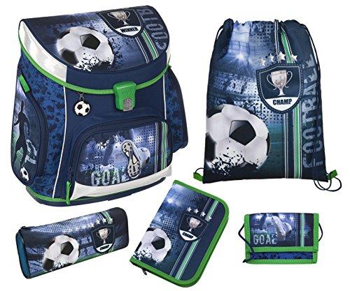 Fußball Schulranzen Set 10tlg. Sporttasche, Schultüte 85cm, Federmappe, Regen/Sicherheitshülle gelb Scooli FCPR8251 - 2