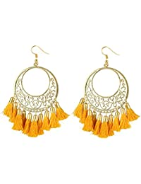 Aradhya Designer Light Weight Oxidized Golden Metal and Mustard Yellow Tassel Earrings for Girls