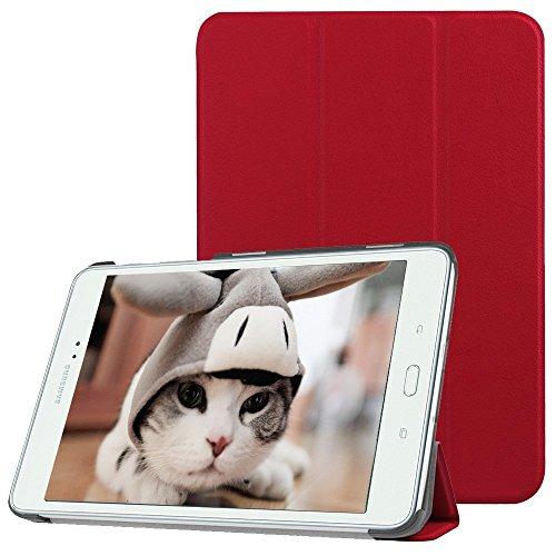 Preisvergleich Produktbild Samsung Galaxy Tab A 9.7 Hülle,TechCode ® Tasche mit Standfunktion Auto Wake up Sleep PU Leder Hüllen für Samsung Galaxy mit Auto Sleep Wake up / Standfunktion Kunstleder, Ultra Dünn Tab Ein 9,7-Zoll-SM-T550(Tab A 9.7, Rot)