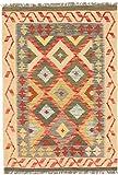 Carpetfine: Kelim Afghan Teppich 108x153 Beige,Blau,Rot - Geometrisch