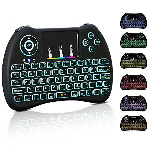 Mini Tastatur Wireless Touchpad Beleuchtet PC Fernbedienung 2.4GHz QWERTZ Deutsch Tastaturlayout 10M Reichweite Tastatur Fernbedienung für Smart TV HTPC IPTV Android TV Box XBOX360 PS3 Raspberry Pi (Tastatur-DE Neu) (Tastatur-fernbedienung Für Smart Tv)