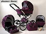 Kinderwagen Margaret, 3 in 1- Set Wanne Buggy Babyschale Autositz pflaume + blumen