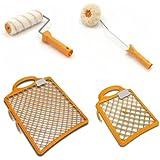 Sanifri 470015090 - Kit de rodillo para pintar con rodillo universal de 18 cm, rodillo para esquinas y 2 rejillas de 19 cm y 28 cm