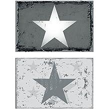 70985 Juego de manteles individuales, 6 unidades,Estrellas, Tricolor, Vintage, Color Blanco, Plateado, Gris, Beige, Dorado, 44x 29cm