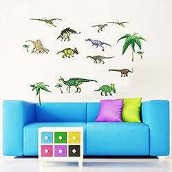 Wallpark Dinosaurios Mundo Desmontable Pegatinas de Pared Etiqueta de la Pared, Bebé Niños Hogar Infantiles Dormitorio Vivero DIY Decorativas Arte Murales