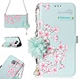 Galaxy S7 Edge (5.5-Inch) Mobile Phone Case, Samsung Galaxy S7 Edge Case Wallet, Slynmax [Florid Series] Premium PU Flip Folio Leather Cell Phone Case with Pearl Flower Chain Shoulder Messenger Phone Wrist Strap Bag for Women Girl Ultra Slim Fit Bookstyle with Folding Stand Card Holder Organizer Business ID Slots Purse Magnetic Closure Silicone TPU Shockproof Protective Case Smart Shell for Samsung Galaxy S7 Edge+ 1* Stylus Pen
