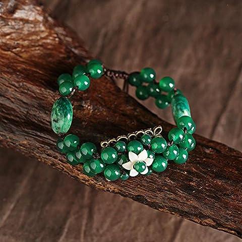 OUYANG A mano braccialetto intrecciato agata verde