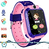 Kinder Intelligente Uhr Wasserdicht, Smartwatch LBS Tracker mit Kinder SOS Handy Touchscreen Spiel Kamera Voice Chat Wecker f