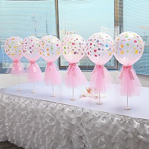 HBBMagic 6 Sets Gedruckte Luftballons + Luftballons Plastik Rods + Luftballons Pomp + Tüll Dekoration für Hochzeit Geburtstag Karneval Weihnachten Festival Party Dekoration