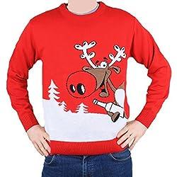 Jersey Navidad Adulto Novedad - Reno Rudolph - Unisex Hombre y Mujer