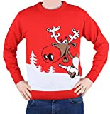 Christmas Jumper Novelty Retro - Rudolph Reindeer Beer - Men & Ladies - S to XXL-X-Large