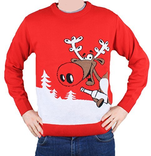 DenimBar.ie Jersey Rojo y Blanco para Hombre y Mujer Unisex Navidad con Rudolph cogiendo una Cerveza - Talla L