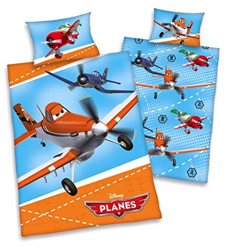 Disneys Planes Kinder BETTWÄSCHE 40x60 100x135cm 100% Baumwolle (Disney Flugzeug Bettwäsche)
