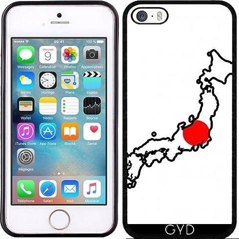 Coque Silicone pour Iphone 5/5S - Japon Carte De Drapeau by Cadellin
