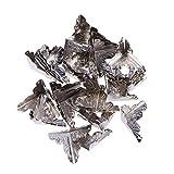 Clispeed 30 Pezzi Scatola protettore Angolo Triangolo in Rattan Intagliato Custodia in Metallo Scatola di Legno Bordo Guardia di Sicurezza con 120pcs Chiodi (Argento)