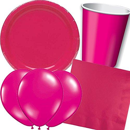 in * PINK / HOT MAGENTA * mit Teller + Becher + Servietten + Deko // Kindergeburtstag Kinder Set Partygeschirr Geburtstag Party Mottoparty Motto Luftballons rot rosa rose ()